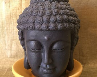 Black Buddha candle wax decorative sculpture handcrafted natural soy saucer unscented