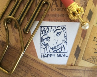 Happy Mail Stamp ~ pop art rubber stamp, snail mail, post crossing, letter writing, envelope decoration, mail art, pen pal, lady face, 1950s