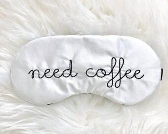 Need Coffee sleep eye mask with adjustable elastic
