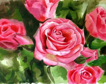 Roses 1  Original painting made by hand with watercolors