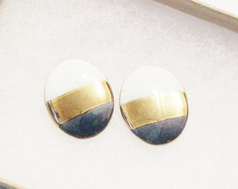 Ceramic Color Block Earring Studs, 1980's Jewelry Made in USA