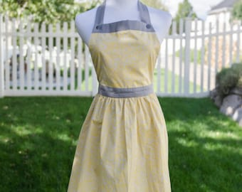 Stylish Handmade Apron Gray and Yellow with Comfortable Button Top