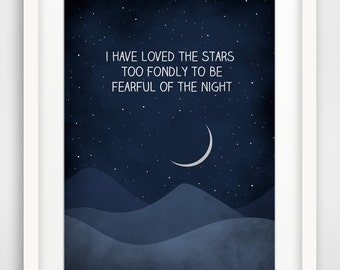 I have loved the stars, Galileo Quote Print, Inspirational Quote, Typography Poster, Large Wall Art