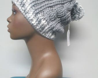 Crocheted Cable Slouchy Hat