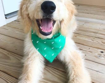 Green & White Tree Printed Puppy Bandana