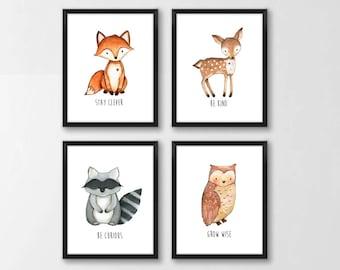 Woodland Animals Nursery Printable Art, Fox Deer Raccoon Owl Wall Art, Stay Clever, Kids Room Decor, Watercolor, Set of 4 Instant Download