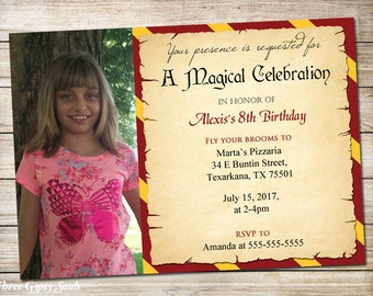 Halloween Party Invitation Witches And Wizards Invitation Magical Birthday Invitations Red and Gold Wizard Party Invitation