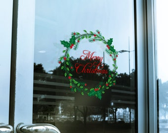 Christmas Wreath Window Cling Decal