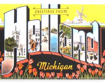 """Greetings from Holland Michigan Fridge Magnet """"style A"""""""