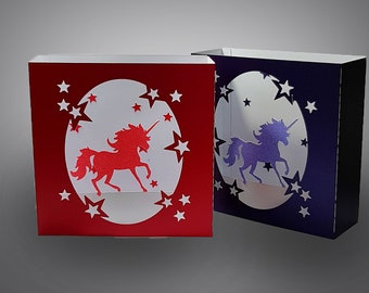 Unicorn box card template