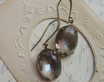 """Gray statement earrings, Anna wintour jewelry, Edwardian earrings, Georgian jewelry, french earrings, gray earrings. """"Tide Pool"""" E01"""