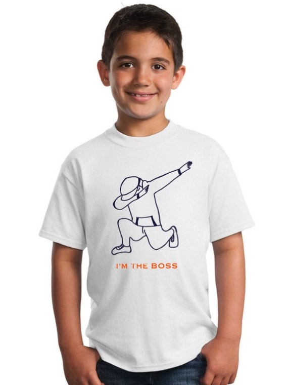 Boy t-shirt or body DAB in navy and orange