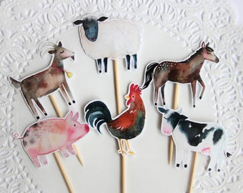 Farm Animal Cupcake Toppers. Farm Theme. Barn Yard Bash. Barn Party. Horse. Goat. Pig. Cow. Rooster. Birthday Party. Baby Shower. Cupcakes
