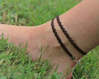 Brown wrap anklet  | Brown anklet | Beach, Boho anklet | Wrap anklet | Braided leather anklet | Braided anklet | Brown braided anklet