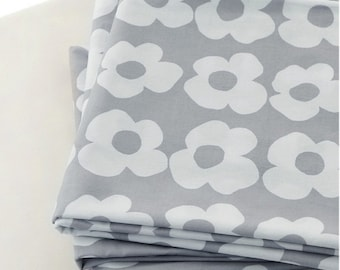 Cotton Fabric Gray Flower By The Yard