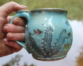 Fish Bowl Mug, Wheel Thrown Mug, Coffee Mug, Handmade Pottery Mug, Tropical Fish, MADE PER ORDER