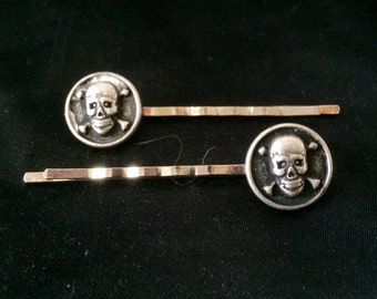 Silver Metal Pirate Skull and Crossbone Bobby Pins, Set of 2
