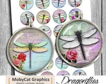 "Dragonflies  1 "" 1.25"" 30mm 35mm 1.5 inch Round Circles Bottle cap Images, Cabochon images Digital Collage Sheet Instant Download"