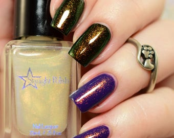 Dragon Duochrome Color Shifting Top Coat Shimmer Gold to Green Indie Nail Lacquer Starlight and Sparkles Polish Liquid Euphoria