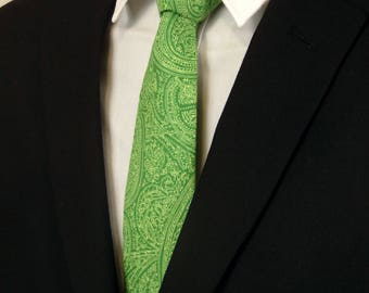 Extra Long Neckties – Mens Green Paisley Necktie, Also available as a skinny tie and a extra long tie.