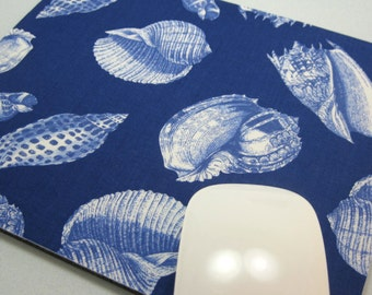 Buy 2 FREE SHIPPING Special!!   Mouse Pad, Computer Mouse Pad, Fabric Mousepad         Ocean Shells