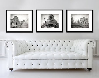 SALE, Paris Set of 3 Prints, Paris Photography, Black and White Prints, Louvre, Eiffel Tower, Arc de Triomphe, Wall Art, Travel Decor