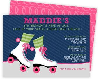 Roller Skating Invitation, Roller Skating Party, Roller Skating Party Invitation, Roller Skate Invite, Skate Party, Roller Skate Party   124