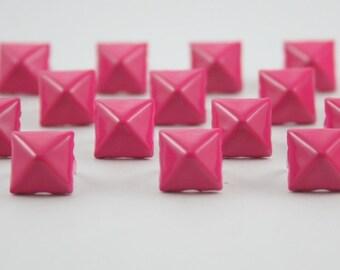 50 pcs. Shocking Pink Pyramid Prong Studs Rivets Biker Spikes spots nailheads Decorations Findings 9 mm. PS9 CK