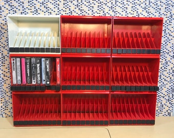 Modular Cassette Rack - Biblio 970 designed by Giotto Stoppino for Rexite  - Tape Storage - Made in Italy