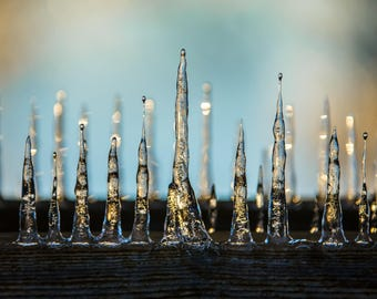 Mystical Icicle Formation Ice Storm Color Photograph Print