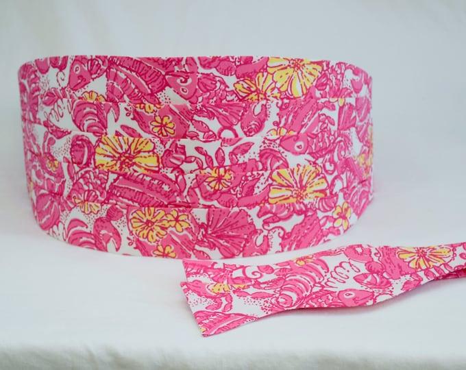 Cummerbund & Bow Tie, pink/yellow floral Chum Bucket Lilly print, formal wedding party attire, prom cummerbund, custom tuxedo accessory,