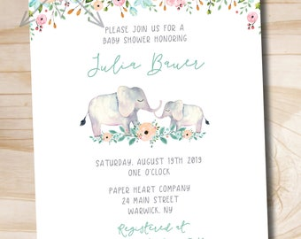 Watercolor Floral Elephant Baby Shower Invitation - Elephant Baby Shower Invitation - Boho Baby Shower -  PDF or Printed Invitation