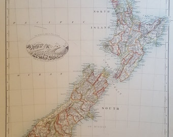 Original Antique Map of New Zealand, 1886