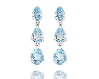 Silver Earrings 925 Rhodium-plated anallergenic blue topaz natural Semi precious