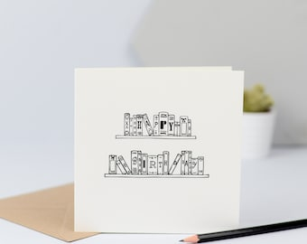Birthday card for Book lover, card for friend, bookish, illustration, literature, book, reading, writer