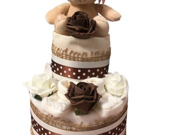 2 Tier Cream Neutral Nappy Cake, baby shower, baby gift