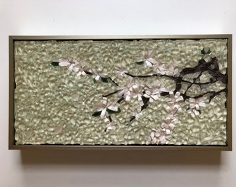 Cherry blossoms on clear - stained glass mosaic wall art