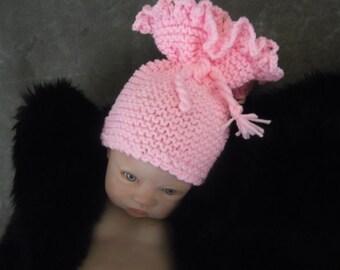 Newborn Photo Prop, Pink Knit Baby Hat, Pink Stocking Hat, Baby Girl Hat, Pink Ruffled Hat, Handmade Baby Hat, Knit Pink Baby Hat
