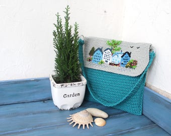 Seaside town. Crocheted bag, cotton, turquoise, grey, embroidery