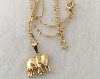 Solid 9ct Yellow Gold Elephant Charm pWN4Q