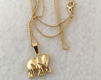 14k gold chain etsy 14k solid gold necklace solid gold elephant pendant 14k gold chain woven 585 yellow gold 51 aloadofball Images