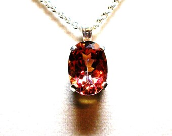 "Topaz, auburn mystic topaz, topaz pendant, red yellow orange , topaz necklace, anniversary, gifts for her, ""Auburn Highlights"""