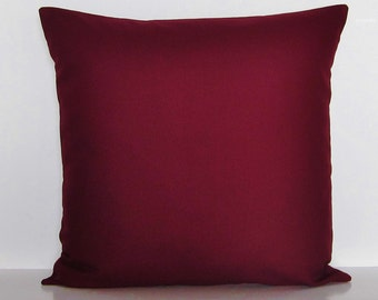 Burgundy Pillow Cover Decorative Throw Accent Pillow Couch Solid 16x16 18x18 20x20 22x22 12x14 12x16 12x18 12x20 14x22 Lumbar Zipper