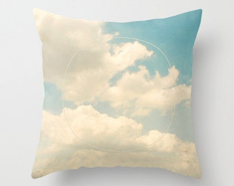 Throw Pillow Case : Vintage Cloudy Sky Pastel Fluffy Clouds Spring Summer Blue Cream White Nursery
