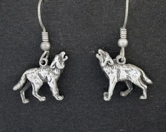 Sterling Silver Wolf Earrings on Sterling Silver French Wires