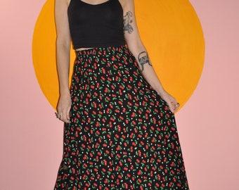 Vintage 90s Grunge Goth Black Cherry Print Maxi Skirt S