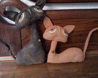 Primitive Folk Art Cat Doll Set - Grungy Cats -  Shelf Sitters