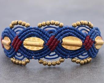 Beaded Woven Cuff Bracelets Macrame Charm Blue Red