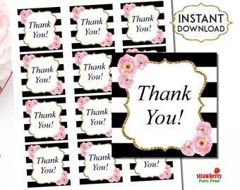 Black and White Favor Tags, Pink Floral Thank you Tags, Printable Tags, Thank You Stickers Labels, INSTANT DOWNLOAD, C12