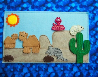 Large Desert Animal Quiet Time Activity   Animal Imagination Play Felt Board Quiet busy book   Camel Snake Chameleon Armadillo Cactus